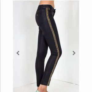 """ROBINS JEANS """"CRYSTAL""""  JEGGINGS GOLD SPIKED"""